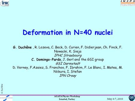AGATA Physics Workshop Istanbul, Turkey May 4-7, 2010 G. Duchêne Deformation in N=40 nuclei G. Duchêne, R. Lozeva, C. Beck, D. Curien, F. Didierjean, Ch.