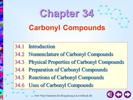 New Way Chemistry for Hong Kong A-Level Book 3B1 Carbonyl Compounds 34.1Introduction 34.2Nomenclature of Carbonyl Compounds 34.3Physical Properties of.
