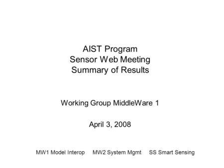 AIST Program Sensor Web Meeting Summary of Results Working Group MiddleWare 1 April 3, 2008 MW1 Model Interop MW2 System Mgmt SS Smart Sensing.