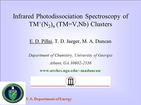 Infrared Photodissociation Spectroscopy of TM + (N 2 ) n (TM=V,Nb) Clusters E. D. Pillai, T. D. Jaeger, M. A. Duncan Department of Chemistry, University.