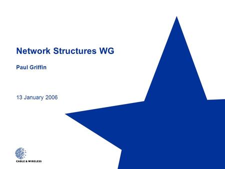 Network Structures WG Paul Griffin 13 January 2006.