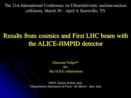 The 21st International Conference on Ultrarelativistic nucleus-nucleus collisions, March 30 – April 4, Knoxville, TN Results from cosmics and First LHC.