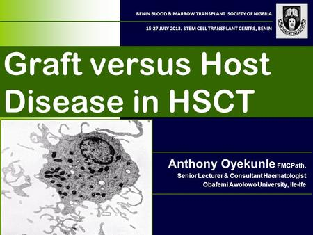 BENIN BLOOD & MARROW TRANSPLANT SOCIETY OF NIGERIA 15-27 JULY 2013. STEM CELL TRANSPLANT CENTRE, BENIN Graft versus Host Disease in HSCT Anthony Oyekunle.