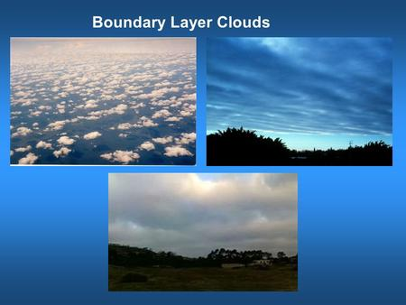 Boundary Layer Clouds. Intertropiccal Convergence Zone (ITCZ) Trade cumulus Transition Stratus and stratocumulus subsidence Trade wind inversion St &
