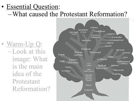 Essential Question: –What caused the Protestant Reformation? Warm-Up Q: –Look at this image: What is the main idea of the Protestant Reformation?