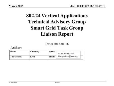 Doc.: IEEE 802.11-15/0457r0 Submission March 2015 802.24 Vertical Applications Technical Advisory Group Smart Grid Task Group Liaison Report Date: 2015-01-16.