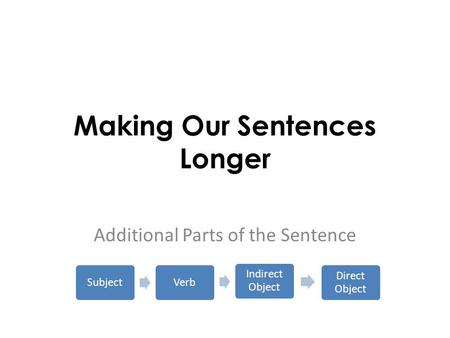 Making Our Sentences Longer Additional Parts of the Sentence SubjectVerb Indirect Object Direct Object.