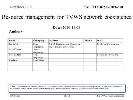 Doc.: IEEE 802.19-10/161r0 SubmissionSlide 1 Resource management for TVWS network coexistence Notice: This document has been prepared to assist IEEE 802.19.