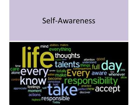 Self-Awareness. What do you think Self-Awareness means? (answer in your spiral)