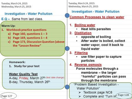 Investigation - Water Pollution Page 127 Tuesday, March 24, 2015 Wednesday, March 25, 2015 Page 128 Investigation - Water Pollution Warm Up: 1.Workbook.