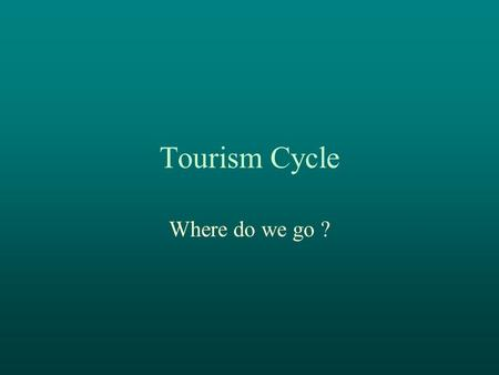 Tourism Cycle Where do we go ?. Tourism Cycle Butler Exploration Involvement Development Consolidation StagnationDecline or Rejuvenation.