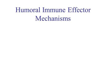 Humoral Immune Effector Mechanisms. Ig of Different Isotypes How do the functional differences impact the immune response ? The focus will be on Ig and.