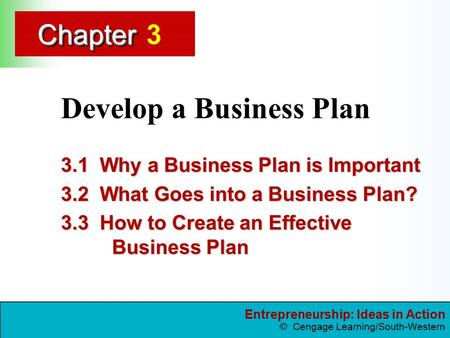 Entrepreneurship: Ideas in Action © Cengage Learning/South-Western ChapterChapter Develop a Business Plan 3.1 Why a Business Plan is Important 3.2 What.