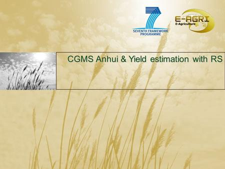 CGMS Anhui & Yield estimation with RS CGMS Anhui & Yield estimation with RS.