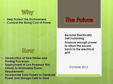 Become Electrically Self Sustaining Produce enough power to return the excess back to the electrical grid Help Protect the Environment Combat the Rising.