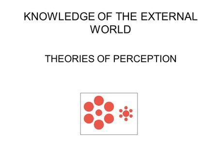 KNOWLEDGE OF THE EXTERNAL WORLD THEORIES OF PERCEPTION.