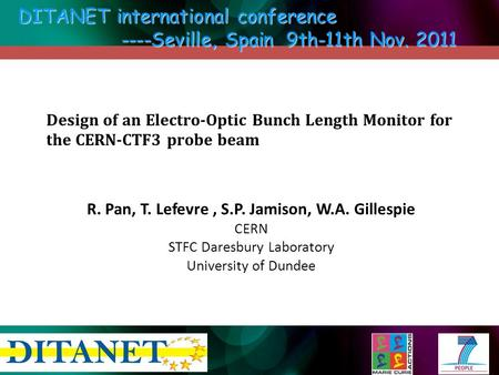Design of an Electro-Optic Bunch Length Monitor for the CERN-CTF3 probe beam R. Pan, T. Lefevre, S.P. Jamison, W.A. Gillespie CERN STFC Daresbury Laboratory.