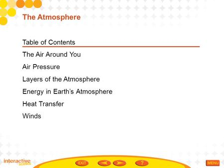 Table of Contents The Air Around You Air Pressure Layers of the Atmosphere Energy in Earth's Atmosphere Heat Transfer Winds The Atmosphere.