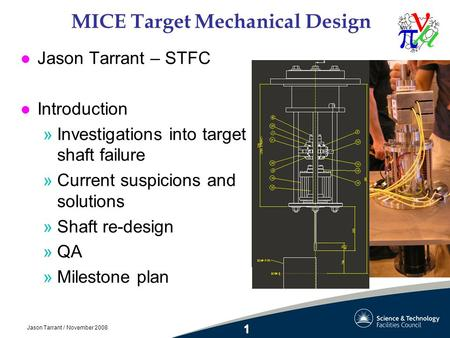 Jason Tarrant / November 2008 MICE Target Mechanical Design l Jason Tarrant – STFC l Introduction »Investigations into target shaft failure »Current suspicions.