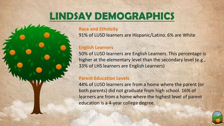 LINDSAY DEMOGRAPHICS Race and Ethnicity 91% of LUSD learners are Hispanic/Latino. 6% are White English Learners 50% of LUSD learners are English Learners.