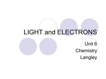 LIGHT and ELECTRONS Unit 6 Chemistry Langley. LIGHT and its PROPERTIES Pre-1900  Issac Newton explained light and its behavior by assuming light moved.