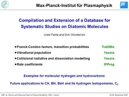 Max-Planck-Institut für Plasmaphysik CRP on 'Atomic and Molecular Data for Plasma Modelling', IAEA, Vienna26-28 September 2005 Compilation and Extension.