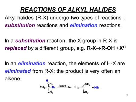 1 REACTIONS OF ALKYL HALIDES Alkyl halides (R-X) undergo two types of reactions : substitution reactions and elimination reactions. In a substitution reaction,