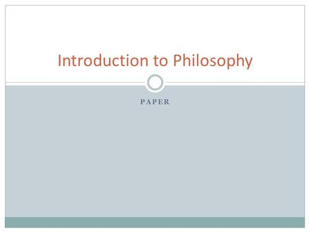 "PAPER Introduction to Philosophy. The Paper Reading: ""The Apology."" Thesis: ""The purpose of this paper is to summarize and critically evaluate Socrates'"