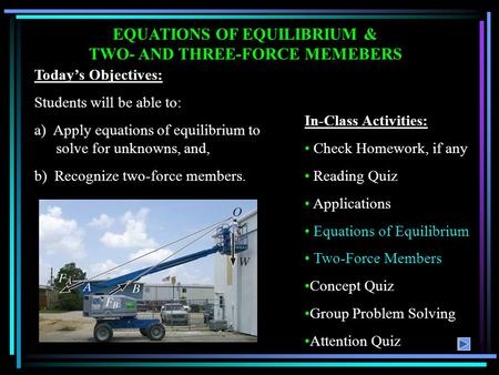 EQUATIONS OF EQUILIBRIUM & TWO- AND THREE-FORCE MEMEBERS In-Class Activities: Check Homework, if any Reading Quiz Applications Equations of Equilibrium.