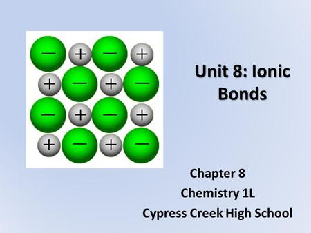 Chapter 8 Chemistry 1L Cypress Creek High School