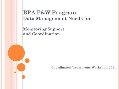 BPA F&W Program Data Management Needs for Monitoring Support and Coordination Coordinated Assessments Workshop, 2011.