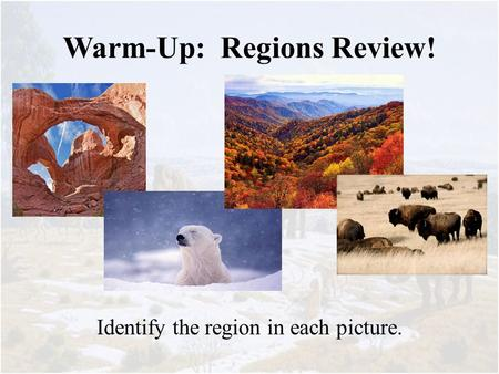Warm-Up: Regions Review! Identify the region in each picture.