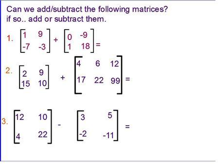 AccPeCalc Matrices review Definition of an Inverse Given a n x n matrix A, if there exists an inverse (A -1 ) of matrix A then A A -1 = A -1 A =
