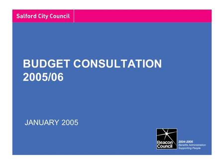 BUDGET CONSULTATION 2005/06 JANUARY 2005. Budget timetable Financial projections for 2005/06 preparedOct – Nov 2004 Revenue Support Grant settlementDec.
