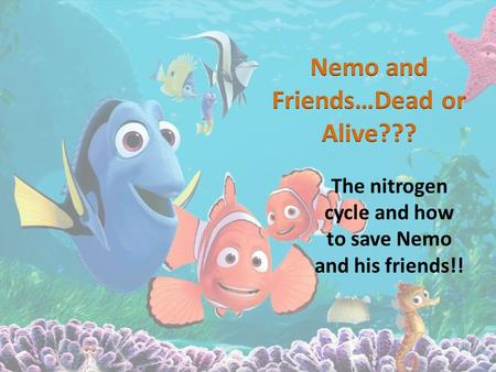 The nitrogen cycle and how to save Nemo and his friends!!