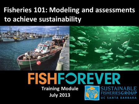Fisheries 101: Modeling and assessments to achieve sustainability Training Module July 2013.