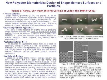New Polyester Biomaterials: Design of Shape Memory Surfaces and Particles Valerie S. Ashby, University of North Carolina at Chapel Hill, DMR 0706433 Present.