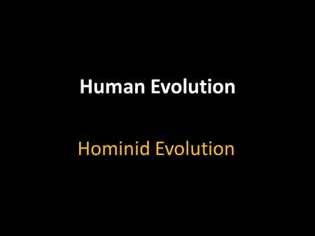 Hominid Evolution Human Evolution. Objectives Identify the characteristics that all primates share. Describe the major evolutionary groups of primates.