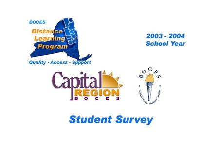 .. CRB-FEH Distance Learning Project Student Survey 2003 – 2004 School Year BOCES Distance Learning Program Quality Access Support.
