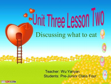 Teacher: Wu Yanyan Students: Pre-Junior Class Four Discussing what to eat.