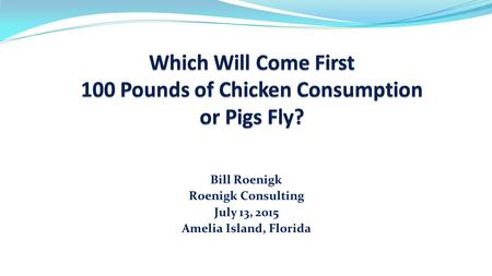 Bill Roenigk Roenigk Consulting July 13, 2015 Amelia Island, Florida.