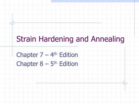 Strain Hardening and Annealing