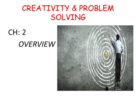 CREATIVITY & PROBLEM SOLVING CH: 2 OVERVIEW. cps CPS Formally-informally Work tirelessly Involve guesswork Technical systems… To discuss any of these.