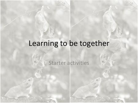 Learning to be together Starter activities.