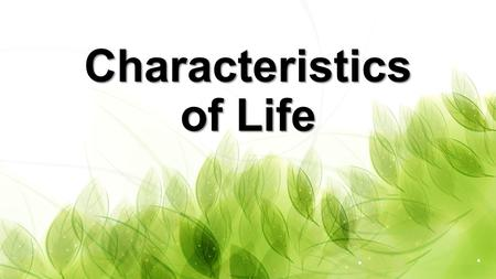 Characteristics of Life. What does it mean to be alive? All living things share common characteristics.