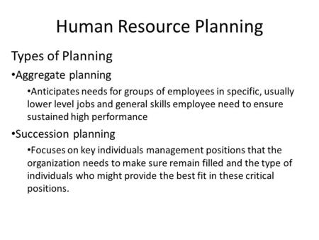 Human Resource Planning Types of Planning Aggregate planning Anticipates needs for groups of employees in specific, usually lower level jobs and general.