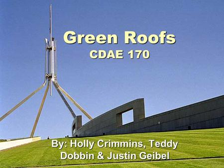 Green Roofs CDAE 170 By: Holly Crimmins, Teddy Dobbin & Justin Geibel.
