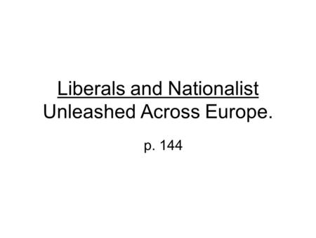 Liberals and Nationalist Unleashed Across Europe. p. 144.
