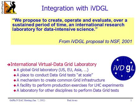 GriPhyN EAC Meeting (Jan. 7, 2002)Paul Avery1 Integration with iVDGL è International Virtual-Data Grid Laboratory  A global Grid laboratory (US, EU, Asia,