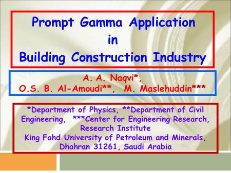Prompt Gamma Application in Building Construction Industry